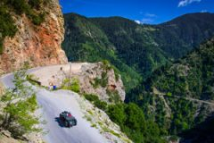 rally with classic cars in the Alps