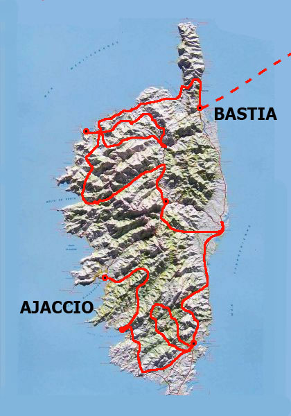 Map of the rally in Corse